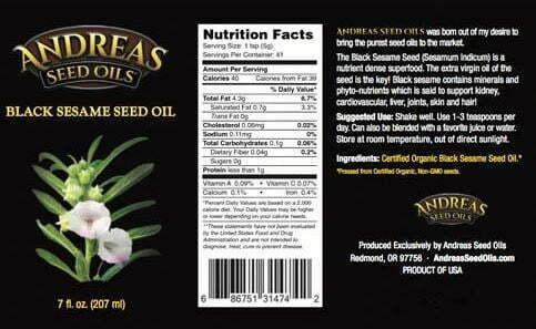 sesame seed oil label