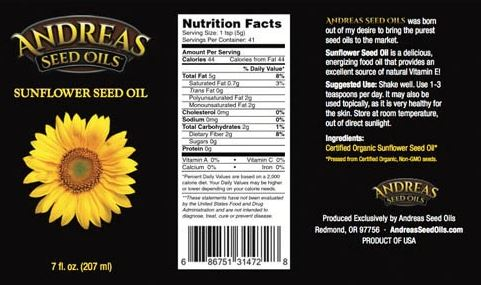 sunflower seed oil label